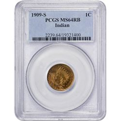 Choice RB 1909-S Indian Cent 1909-S Indian Cent. MS-64 RB PCGS.