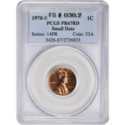 Bright Gem Proof 1970-S Small Date Cent 1970-S Cent Small Date. FS-030.2. Proof-67 RD PCGS.