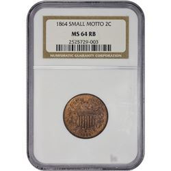 Choice Mint State 1864 Two-Cents Small Motto Scarcity 1864 Two-Cents Small Motto. MS-64 RB NGC.
