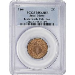 Choice RB Mint State 1864 Two-Cents Small Motto 1864 Two-Cents Small Motto. MS-63 RB PCGS.