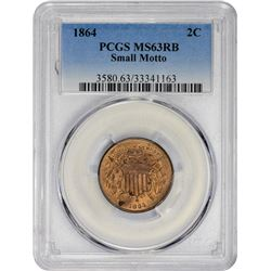 Choice Uncirculated 1864 Two-Cents Small Motto 1864 Two-Cents Small Motto. MS-63 RB PCGS.