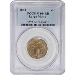 Mint State 1864 Large Motto Two-Cents 1864 Two-Cents Large Motto. MS-64 RB PCGS.