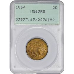 Uncirculated 1864 Large Motto Two-Cents 1864 Two-Cents Large Motto. MS-63 RB PCGS. OGH.