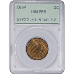 Choice RB Mint State 1864 Two-Cents 1864 Two-Cents Large Motto. MS-63 RB PCGS. OGH.