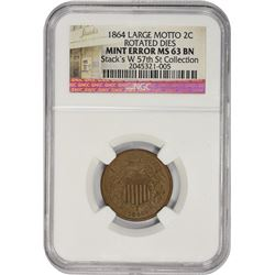 Choice BN Uncirculated 1864 Two-Cents Rotated Dies 1864 Two-Cents Large Motto. Mint Error – Rotated