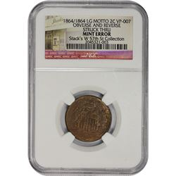 Struck-Through 1864 Two-Cents Error 1864 Two-Cents Large Motto. Repunched 64. Mint Error – Obverse a