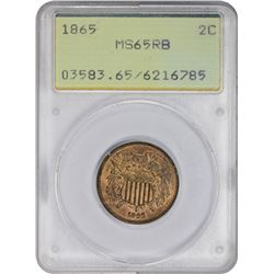 Gem RB Uncirculated 1865 Two-Cents Plain 5, OGH 1865 Two-Cents Plain 5. MS-65 RB PCGS. OGH.