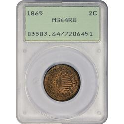 Choice RB Mint State 1865 Two-Cents Fancy 5, OGH 1865 Two-Cents Fancy 5. MS-64 RB PCGS. OGH.