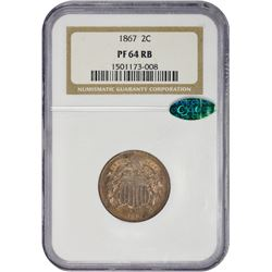 Choice RB Proof 1867 Two-Cent Piece 1867 Two-Cents Proof-64 RB NGC. CAC.