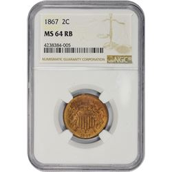 Satiny RB Mint State 1867 Two-Cents 1867 Two-Cents MS-64 RB NGC.