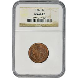Lovely Mint State 1867 Two-Cents 1867 Two-Cents MS-64 RB NGC.