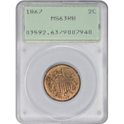 Choice RB 1867 Two-Cent Piece 1867 Two-Cents MS-63 RB PCGS. OGH.