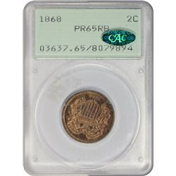 Gem Proof 1868 Two-Cents OGH, CAC 1868 Two-Cents Proof-65 RB PCGS. CAC. OGH.
