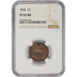 Gem RB Proof 1868 Two-Cents 1868 Two-Cents Proof-65 RB NGC.