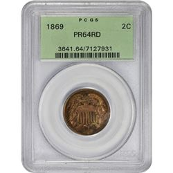 Choice RD Proof 1869 Two-Cents 1869 Two-Cents Proof-64 RD PCGS.