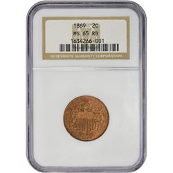 Gem Uncirculated 1869 Two-Cent Piece 1869 Two-Cents MS-65 RB NGC.