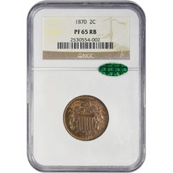 Gem RB Proof 1870 Two-Cent Piece 1870 Two-Cents Proof-65 RB NGC. CAC.