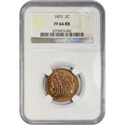 Colorful Choice Proof 1870 Two-Cents 1870 Two-Cents Proof-64 RB NGC.