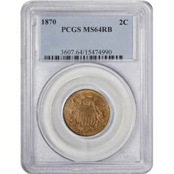 Choice RB Mint State 1870 Two-Cent Piece 1870 Two-Cents MS-64 RB PCGS.