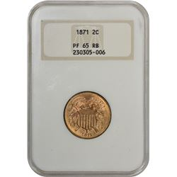 Gem Proof 1871 Two-Cents 1871 Two-Cents Proof-65 RB NGC.