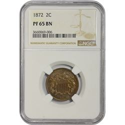Gem Proof 1872 Two-Cent Piece 1872 Two-Cents Proof-65 BN NGC.