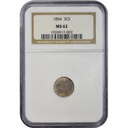Uncirculated 1854 Silver Three-Cents 1854 Three-Cents MS-62 NGC.