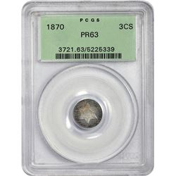 Choice Proof 1870 Silver Three-Cents 1870 Three-Cents Proof-63 PCGS.