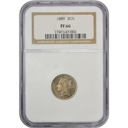 Gem Proof 1889 Nickel Three-Cents 1889 Three-Cents Proof-66 NGC.