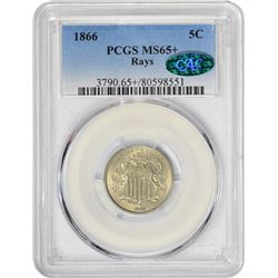 Gem+ Mint State 1866 Shield 5¢ 1866 Nickel Rays. MS-65+ PCGS. CAC.