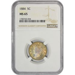 Gem Uncirculated 1884 Liberty Nickel 1884 Nickel MS-65 NGC.