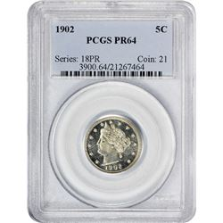 Choice Proof 1902 Liberty 5¢ 1902 Nickel Proof-64 PCGS.