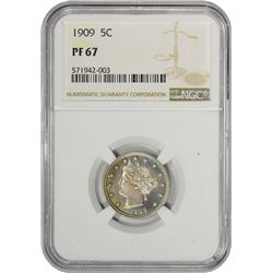 Gem Proof 1909 Liberty 5¢ 1909 Nickel Proof-67 NGC.