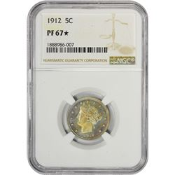 Superb Gem Proof 1912 Liberty 5¢ 1912 Nickel Proof-67* NGC.