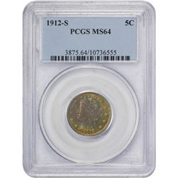 Toned Choice Mint State 1912-S Nickel 1912-S Nickel MS-64 PCGS.