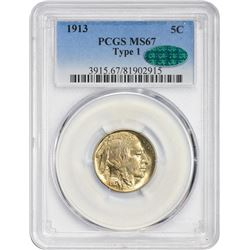Superb Gem Uncirculated 1913 Buffalo Nickel Type I  1913 Buffalo Nickel. Type I. MS-67 PCGS. CAC.