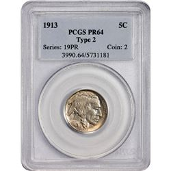 Choice Proof 1913 Buffalo Nickel Type II 1913 Nickel Type II. Proof-64 PCGS.