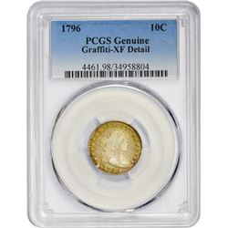 EF Detail 1796 Dime 1796 Dime JR-1. Rarity-3. Genuine – Graffiti – EF Detail PCGS.