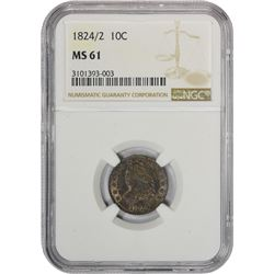 Mint State 1824/1 Dime 1824/1 Dime JR-1. Rarity-3. MS-61 NGC.