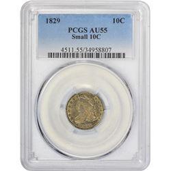 Choice AU 1829 Dime Small 10C 1829 Dime Small 10C. JR-4. Rarity-2. AU-55 PCGS.