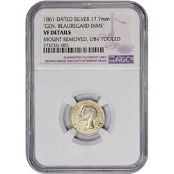 "Famous 1861-Dated Beauregard ""Dime"" Rarity 1861-Dated Beauregard ""Dime."" Medal Turn. Reeded Edge. VF"