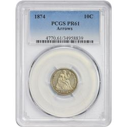 Proof 1874 Arrows 10¢ 1874 Dime Arrows. Proof-61 PCGS.