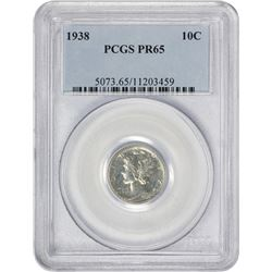 Gem Proof 1938 Mercury 10¢ 1938 Dime Proof-65 PCGS.
