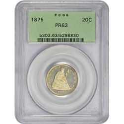 Choice Proof 1875 Twenty-Cents 1875 Twenty-Cents Proof-63 PCGS. OGH.