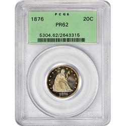 Proof 1876 Twenty-Cents 1876 Twenty-Cents Proof-62 PCGS. OGH.