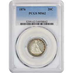 Satiny Mint State 1876 Twenty-Cents 1876 Twenty Cents MS-62 PCGS.