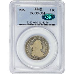 Collector Grade 1805 Quarter 1805 Quarter Browning-2. Good-4 PCGS. CAC.