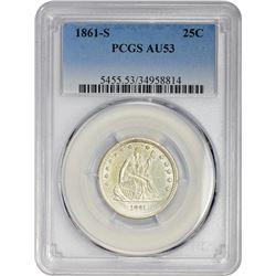 AU 1861-S Quarter 1861-S Quarter AU-53 PCGS.