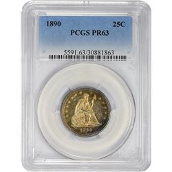 Colorful Choice Proof 1890 Quarter 1890 Quarter Proof-63 PCGS.