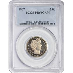 Choice CAM Proof 1907 Quarter 1907 Quarter Proof-64 CAM PCGS.