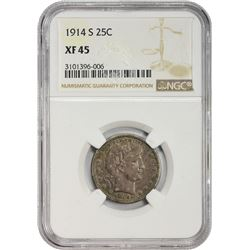 Choice EF 1914-S Barber Quarter 1914-S Quarter EF-45 NGC.